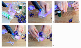Decorating a candle lantern with lavender flowers and purple ribbon