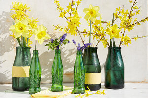 Forsythien, Narzissen und Hyazinthen in grünen Flaschen als Frühlingsdeko