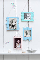 Maritime photo frames handmade from painted lolly sticks
