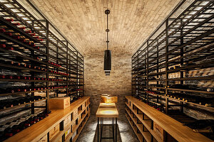 Wine cellar with wine racks