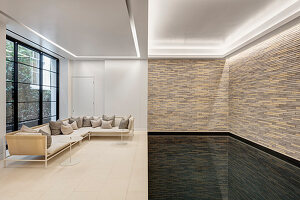 Swimming pool and lounge with garden access