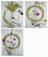Instructions for tying a heather wreath decorated with violas