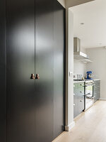 Fitted cupboards with leather handles and kitchen counter in background