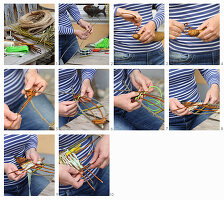 Instructions for making a basketwork fish from wicker and twine