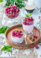 Raspberry mousse with cream cheese