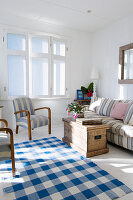 Rustic living room in blue and white