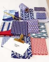 Patterned fabrics for packing gifts in Japanese Furoshiki style