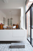 Floating dining area in modernised period building