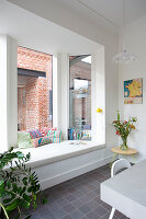 Reading nook with window seat in kitchen