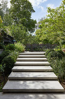 Modern steps leading to terrace in split-level garden