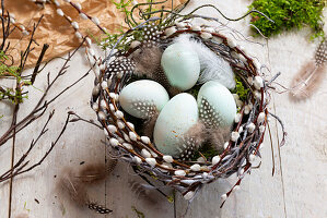Easter eggs in handmade pussy willow Easter nest