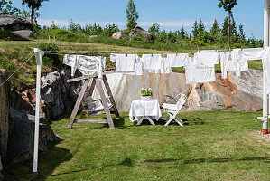 Laundry hung up to dry in garden