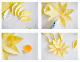 Instructions for making flowers from yellow-painted paper