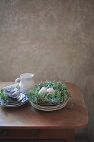 Breakfast crockery next to speckled eggs in Easter nest