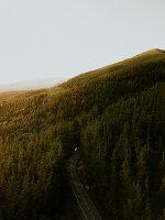 Straße über einen bewaldeten Hügel und Blick in die Ferne