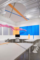 Detail of tape wall and desk graphics and cut-out cloud, HARU Gallery, London, United Kingdom