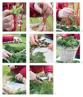 Decorating a wicker basket for winter