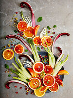 Deconstructed blood orange and fennel salad
