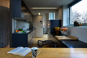 Long, narrow, open-plan kitchen with dark blue cupboards and pale wooden elements