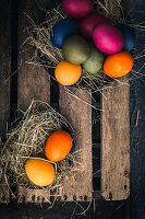 Easter eggs coloured with organic dyes in a nest