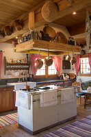 Rustic kitchen in traditional Swiss farmhouse