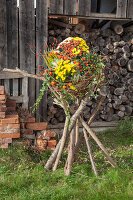 Imaginative arrangement of chrysanthemums