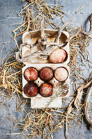 Easter eggs coloured with black tea