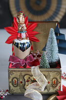 Christmas decorations shaped like rabbit and tree in vintage tin