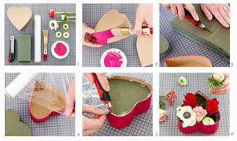 Instructions for making a flower arrangement in heart-shaped cardboard box