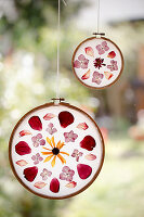 DIY floral mandalas hung in window