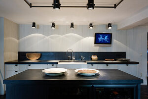 Island counter and various spotlights in black-and-white kitchen