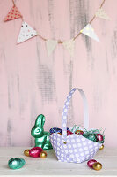Handmade Easter basket and chocolate eggs