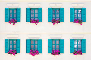 Windows with bright blue shutters and bright pink petunias in window boxes in white facade