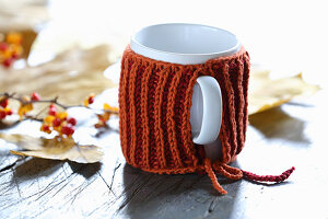 Rusty-red hand-knitted mug warmer for decorating autumnal table