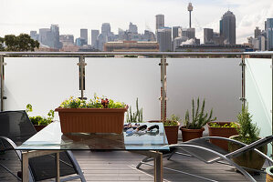 Potted plants and terrace furniture on roof terrace