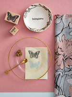 Feminine place setting with stamp print motifs