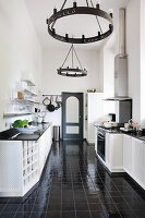 Mediterranean kitchen in black and white
