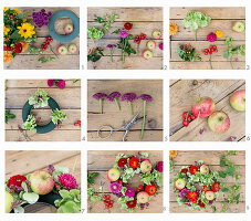 Tying a wreath of hops, green hydrangeas, zinnias and apples