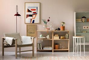 Wohnzimmer in Nude-Tönen im Skandinavischen Stil