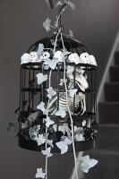 DIY-Halloweendekoration: Vogelskelett im Käfig