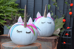 Handcrafted Halloween decorations: Unicorn pumpkins