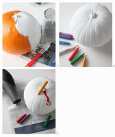 Handcrafted Halloween decorations: painting pumpkins white and decorating with colourful melted wax