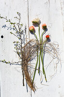 Poppies, dried grasses and fresh branch on white boards
