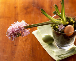 Flowering hyacinth and Easter eggs