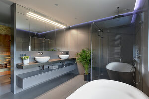 Twin countertop sinks on washstand, glass shower cabinet and bathtub in designer bathroom