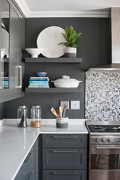 Floating shelves in classic grey-and-white kitchen