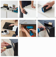 Instructions for painting a cabinet black and attaching feet