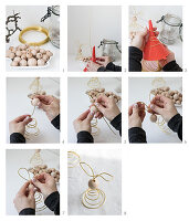 Instructions for making Easter bunnies from golden wire and wooden beads
