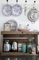 Tea station in an old wooden box as a shelf
