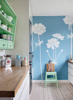 Blue floral wallpaper in a kitchen